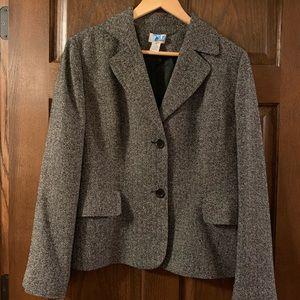 Loft Black/Off-White Blazer Silk 2 Button suit 14